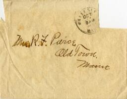 Letter from Louise Pierce, Wellesley, Massachusetts, to Mr. R.F. Pierce, Old Town, Maine, 1896 October 2