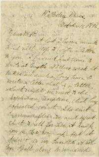 Letter from Louise Pierce, Wellesley, Massachusetts, to her parents, 1896 October 11