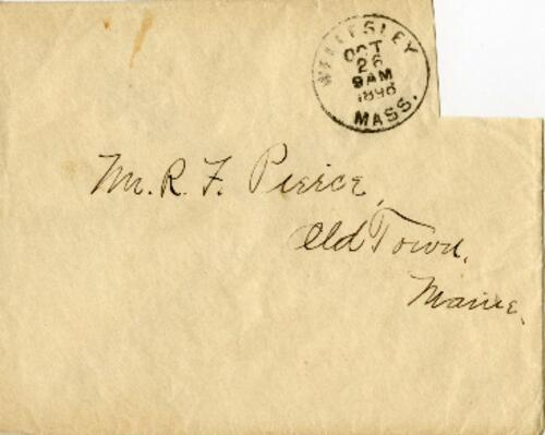 Letter from Louise Pierce, Wellesley, Massachusetts, to Mr. R.F. Pierce, Old Town, Maine, 1896 October 14