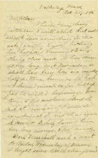 Letter from Louise Pierce, Wellesley, Massachusetts, to her parents, 1896 October 23