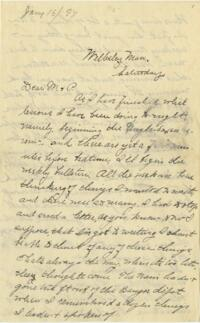 Letter from Louise Pierce, Wellesley, Massachusetts, to her parents, 1897 January 16