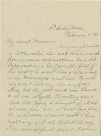 Letter from Louise Pierce, Wellesley, Massachusetts, to her mother, 1897 February 9