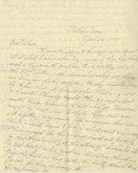 Letter from Louise Pierce, Wellesley, Massachusetts, to her parents, 1897 April 24