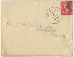 Letter from Louise Pierce, Wellesley, Massachusetts, to Mr. R.F. Pierce, Old Town, Maine, 1897 September 29