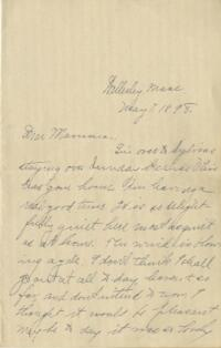 Letter from Louise Pierce, Wellesley, Massachusetts, to Mrs. R.F. Pierce, 1898 May 7