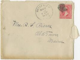 Letter from Louise Pierce, Wellesley, Massachusetts, to Mr. R.F. Pierce, Old Town, Maine, 1898 May 15