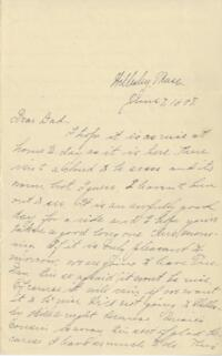 Letter from Louise Pierce, Wellesley, Massachusetts, to Mr. R.F. Pierce, Old Town, Maine, 1898 June 7