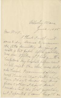 Letter from Louise Pierce, Wellesley, Massachusetts, to her parents, 1898 June 11