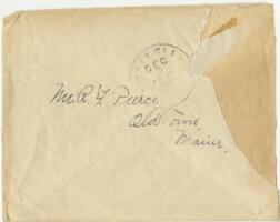 Letter from Louise Pierce, Wellesley, Massachusetts, to Mr. R.F. Pierce, Old Town, Maine, 1899 December 7