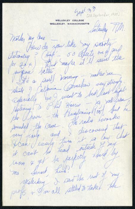 Letter from Virginia Veeder Westervelt, Wellesley, Massachusetts, to Mrs. Millicent Veeder, Schenectady, New York, 1933 September 23