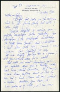 Letter from Virginia Veeder Westervelt, Wellesley, Massachusetts, to Mrs. Millicent Veeder, Schenectady, New York, 1933 September 26