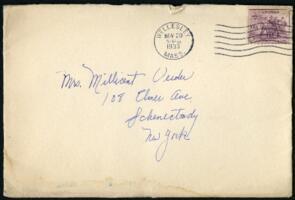 Letter from Virginia Veeder Westervelt, Wellesley, Massachusetts, to Mrs. Millicent Veeder, Schenectady, New York, 1933 November 20