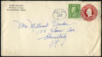 Letter from Virginia Veeder Westervelt, Wellesley, Massachusetts, to Mrs. Millicent Veeder, Schenectady, New York, 1933 December 1