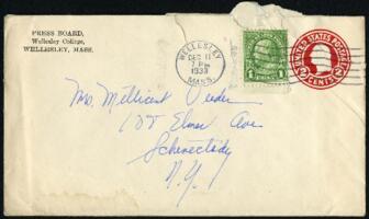 Letter from Virginia Veeder Westervelt, Wellesley, Massachusetts, to Mrs. Millicent Veeder, Schenectady, New York, 1933 December 11