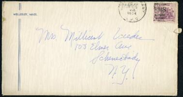 Letter from Virginia Veeder Westervelt, Wellesley, Massachusetts, to Mrs. Millicent Veeder, Schenectady, New York, 1934 February 14