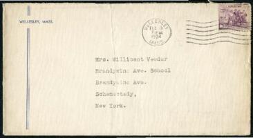 Letter from Virginia Veeder Westervelt, Wellesley, Massachusetts, to Mrs. Millicent Veeder, Schenectady, New York, 1934 February 15