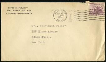 Letter from Virginia Veeder Westervelt, Wellesley, Massachusetts, to Mrs. Millicent Veeder, Schenectady, New York, 1934 February 16