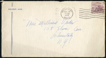 Letter from Virginia Veeder Westervelt, Wellesley, Massachusetts, to Mrs. Millicent Veeder, Schenectady, New York, 1934 February 19