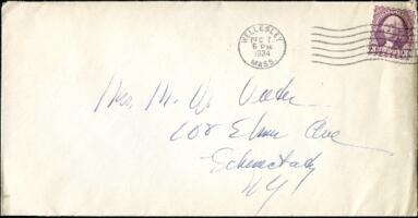 Letter from Virginia Veeder Westervelt, Wellesley, Massachusetts, to Mrs. Millicent Veeder, Schenectady, New York, 1934 December 7