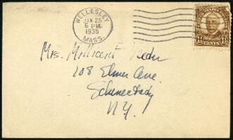 Postcard from Virginia Veeder Westervelt, Wellesley, Massachusetts, to Mrs. Millicent Veeder, Schenectady, New York, 1935 January 25