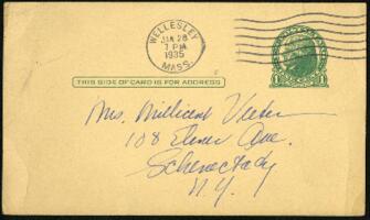 Postcard from Virginia Veeder Westervelt, Wellesley, Massachusetts, to Mrs. Millicent Veeder, Schenectady, New York, 1935 January 28