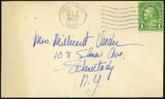Postcard from Virginia Veeder Westervelt, Wellesley, Massachusetts, to Mrs. Millicent Veeder, Schenectady, New York, 1935 February 4