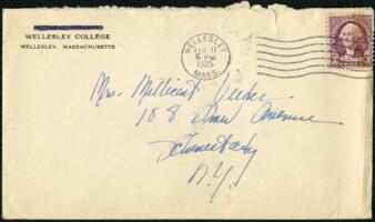 Letter from Virginia Veeder Westervelt, Wellesley, Massachusetts, to Mrs. Millicent Veeder, Schenectady, New York, 1935 February 11