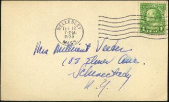 Postcard from Virginia Veeder Westervelt, Wellesley, Massachusetts, to Mrs. Millicent Veeder, Schenectady, New York, 1935 February 12
