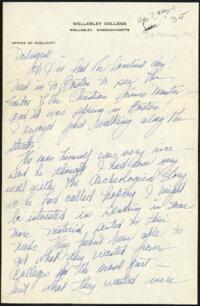 Letter from Virginia Veeder Westervelt, Wellesley, Massachusetts, to Mrs. Millicent Veeder, Schenectady, New York, 1935 February 13