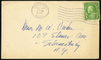 Postcard from Virginia Veeder Westervelt, Wellesley, Massachusetts, to Mrs. Millicent Veeder, Schenectady, New York, 1935 February 15