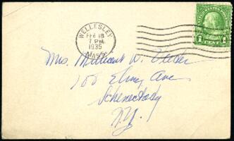 Postcard from Virginia Veeder Westervelt, Wellesley, Massachusetts, to Mrs. Millicent Veeder, Schenectady, New York, 1935 February 18