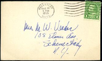 Postcard from Virginia Veeder Westervelt, Wellesley, Massachusetts, to Mrs. Millicent Veeder, Schenectady, New York, 1935 February 19