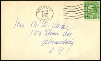 Postcard from Virginia Veeder Westervelt, Wellesley, Massachusetts, to Mrs. Millicent Veeder, Schenectady, New York, 1935 February 21