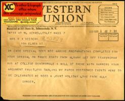 Telegram from Virginia Veeder Westervelt, Wellesley, Massachusetts, to Mrs. Millicent Veeder, Schenectady, New York, 1935 March 8