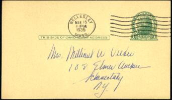 Postcard from Virginia Veeder Westervelt, Wellesley, Massachusetts, to Mrs. Millicent Veeder, Schenectady, New York, 1935 March 15