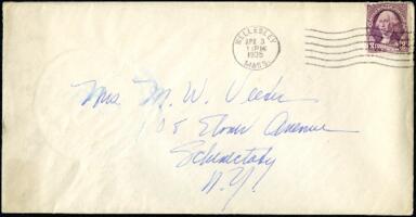 Letter from Virginia Veeder Westervelt, Wellesley, Massachusetts, to Mrs. Millicent Veeder, Schenectady, New York, 1935 April 3