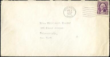 Letter from Virginia Veeder Westervelt, Wellesley, Massachusetts, to Mrs. Millicent Veeder, Schenectady, New York, 1935 April 4