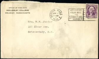 Letter from Virginia Veeder Westervelt, Wellesley, Massachusetts, to Mrs. Millicent Veeder, Schenectady, New York, 1935 April 6