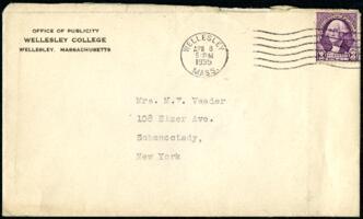 Letter from Virginia Veeder Westervelt, Wellesley, Massachusetts, to Mrs. Millicent Veeder, Schenectady, New York, 1935 April 8