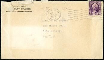 Letter from Virginia Veeder Westervelt, Wellesley, Massachusetts, to Mrs. Millicent Veeder, Schenectady, New York, 1935 April 11
