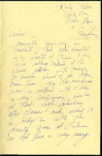 Letter from Virginia Veeder Westervelt, Wellesley, Massachusetts, to Mrs. Millicent Veeder, Schenectady, New York, 1935 April 14?
