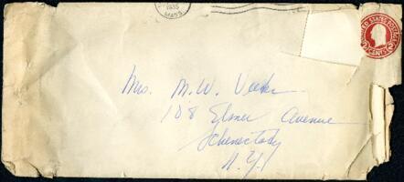 Letter from Virginia Veeder Westervelt, Wellesley, Massachusetts, to Mrs. Millicent Veeder, Schenectady, New York, 1935 April 15?