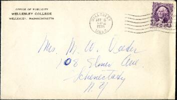 Letter from Virginia Veeder Westervelt, Wellesley, Massachusetts, to Mrs. Millicent Veeder, Schenectady, New York, 1935 April 16