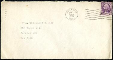 Letter from Virginia Veeder Westervelt, Wellesley, Massachusetts, to Mrs. Millicent Veeder, Schenectady, New York, 1935 April 17