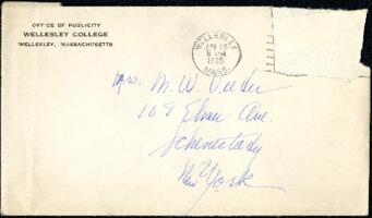 Letter from Virginia Veeder Westervelt, Wellesley, Massachusetts, to Mrs. Millicent Veeder, Schenectady, New York, 1935 April 25