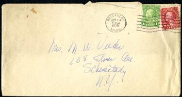 Letter from Virginia Veeder Westervelt, Wellesley, Massachusetts, to Mrs. Millicent Veeder, Schenectady, New York, 1935 April 29