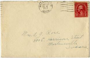 Letter from Grace Rose, Wellesley, Massachusetts, to Mrs. A.G. Rose, Martinsville, Indiana, 1927 September 21