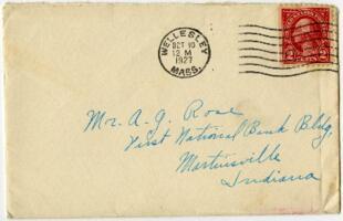 Letter from Grace Rose, Wellesley, Massachusetts, to Mr. A.G. Rose, Martinsville, Indiana, 1927 October 9