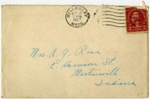 Letter from Grace Rose, Wellesley, Massachusetts, to Mrs. A.G. Rose, Martinsville, Indiana, 1927 October 15