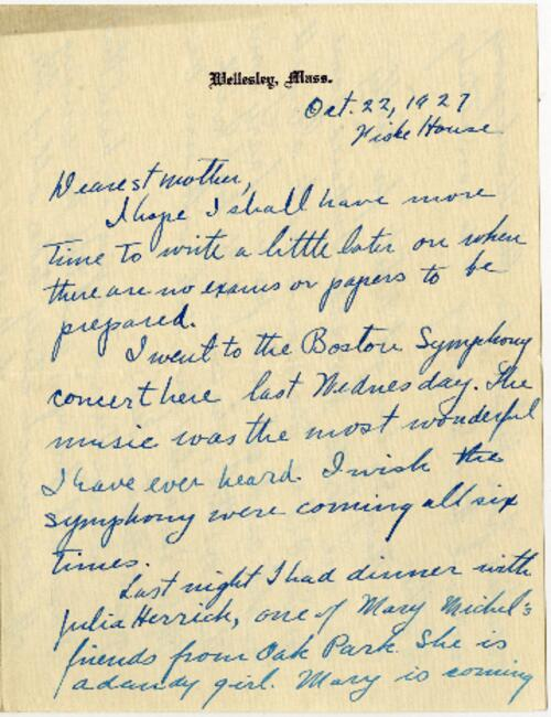 Letter from Grace Rose, Wellesley, Massachusetts, to Mrs. A.G. Rose, Martinsville, Indiana, 1927 October 22-1927 October 24